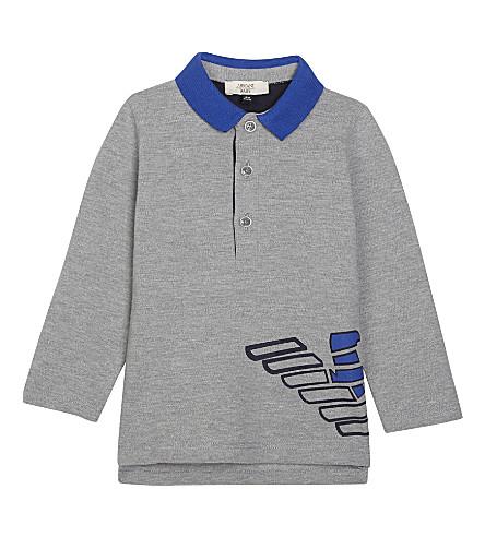 ARMANI JUNIOR Logo print polo shirt 6-36 months (Grey