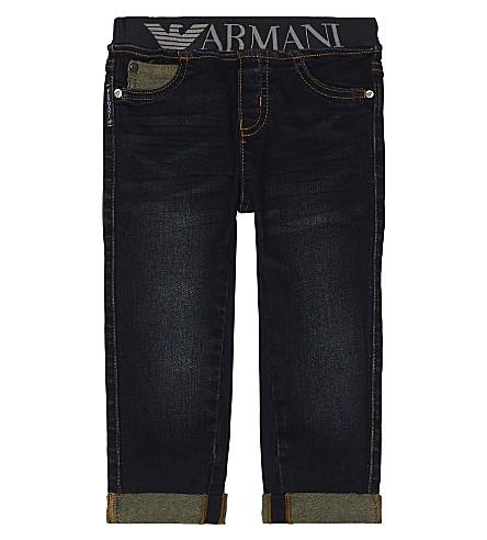 ARMANI JUNIOR Logo waistband cotton jeans 6-36 months (Navy