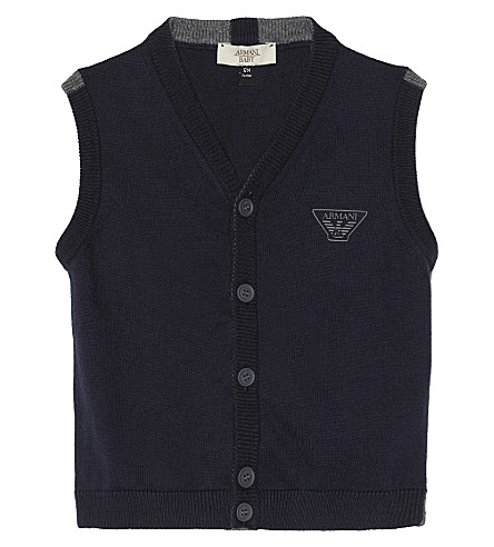 ARMANI JUNIOR Logo cotton-blend gilet 6-36 months (Navy
