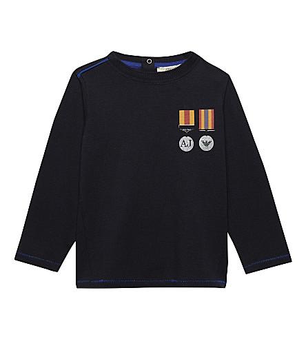 ARMANI JUNIOR Long-sleeve medal print top 6-36 months (Navy