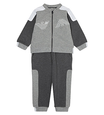 ARMANI JUNIOR Logo cotton tracksuit 6-36 months (Grey