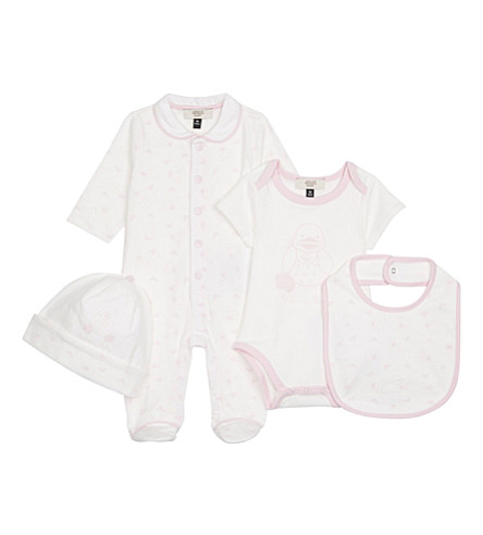 ARMANI JUNIOR Duck 5-piece cotton set 1-6 months (White/pink