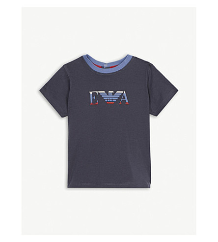 ARMANI JUNIOR Eagle logo cotton-blend polo shirt 6-36 months (Navy