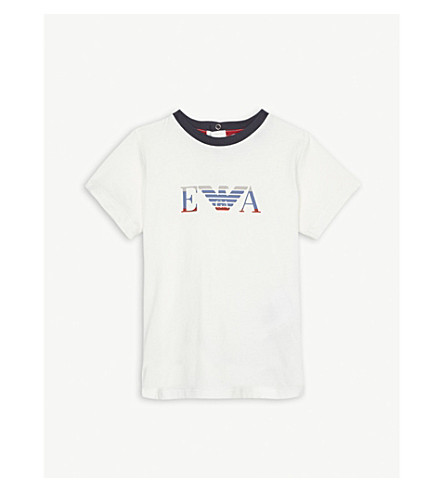 EMPORIO ARMANI Eagle logo cotton-blend polo shirt 6-36 months (White