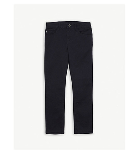 EMPORIO ARMANI Cotton-blend chino trousers 4-16 years (Navy