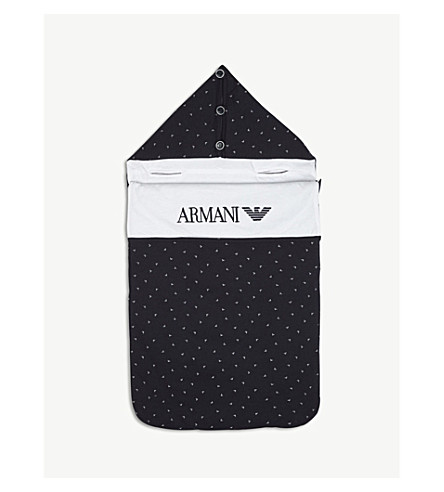 ARMANI JUNIOR Logo cotton sleeping bag (Navy