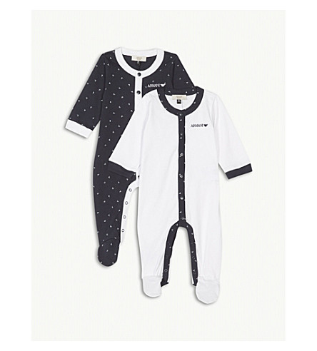 ARMANI JUNIOR Logo two-piece cotton babygrow set 1-12 months (Navy
