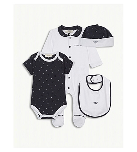 ARMANI JUNIOR 'My First Armani' cotton baby gift set five pieces (Navy