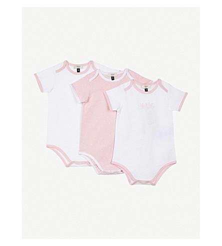 ARMANI JUNIOR Logo three-piece cotton bodysuit set 1-12 months (Pink