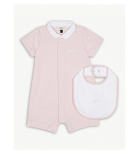 ARMANI JUNIOR My First Romper bodysuit and bib set 1-12 months (Pink