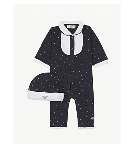 ARMANI JUNIOR Bodysuit and beanie hat set 1-12 months (Navy