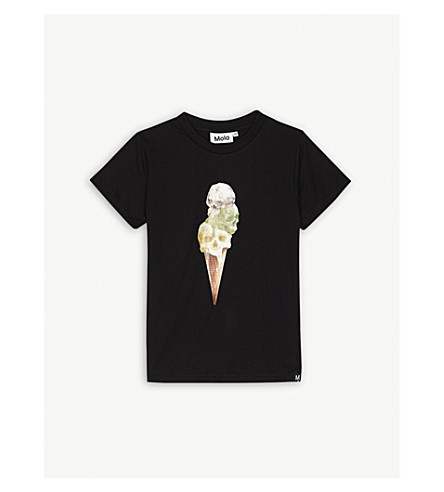 MOLO Space print cotton T-shirt 4-14 years (Black