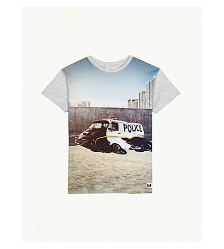 MOLO Ripo police van-print cotton T-shirt 4-14 years (Grey