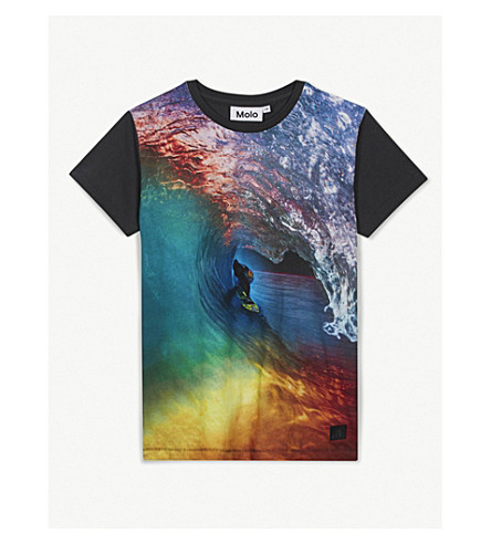 MOLO Runi printed cotton T-shirt 4-14 years (Black+multi