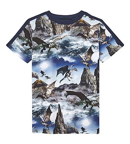 MOLO Rishi animal shadow print cotton T-shirt 4-14 years (Dragon+island