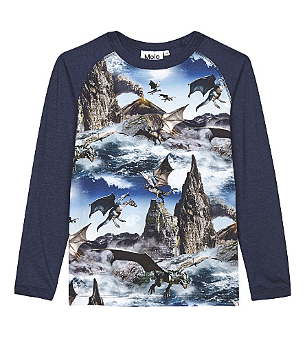MOLO Remington Dragon Island cotton long-sleeved top 4-14 years (Dragon+island
