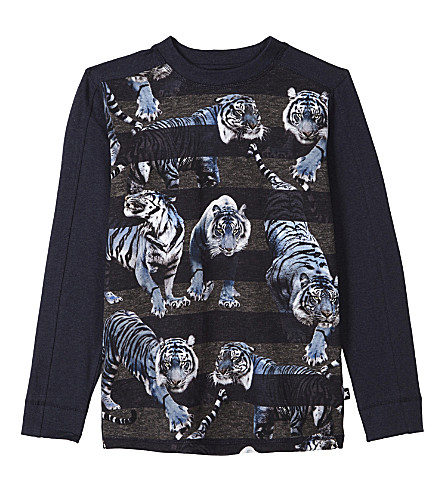 MOLO Raso tiger print long-sleeved top 4-14 years (Blue+tiger