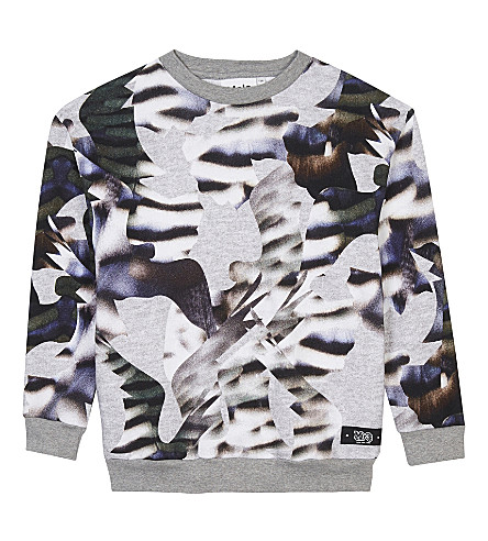 MOLO Monte camouflage print cotton sweatshirt 4-14 years (Tiger+bird+camo