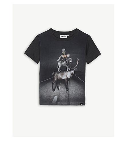 MOLO 动物印花棉 T 恤 4-14 岁 (灰色 + 打印