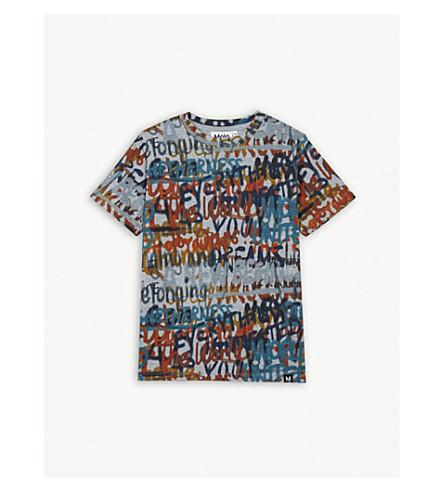 MOLO 涂鸦印花棉 T 恤 4-14 身体素质 (多 + 灰色