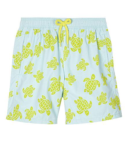 VILEBREQUIN Flocked turtle motif swim shorts 10-14 years (Turquoise