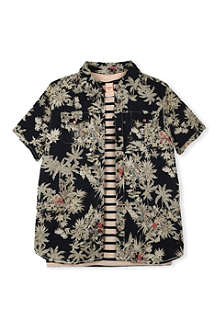 SCOTCH SHRUNK Palm print shirt with t-shirt 4-16 years