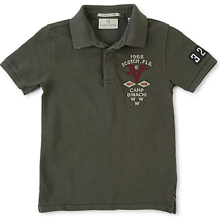 SCOTCH SHRUNK Embroidered polo shirt 4-14 years (Khaki