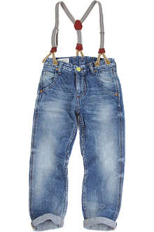 SCOTCH SHRUNK Brewer anti-fit jeans with detachable braces 4-14 years