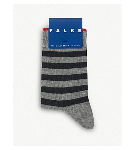 FALKE Double stripe cotton-blend socks (Light+grey