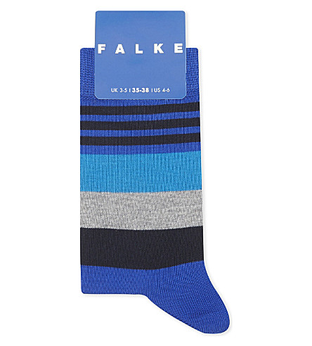 FALKE Irregular stripe cotton-blend socks (Cobalt+blue