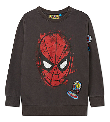 FABRIC FLAVOURS Spiderman badge jumper 3-10 years (Dark+grey