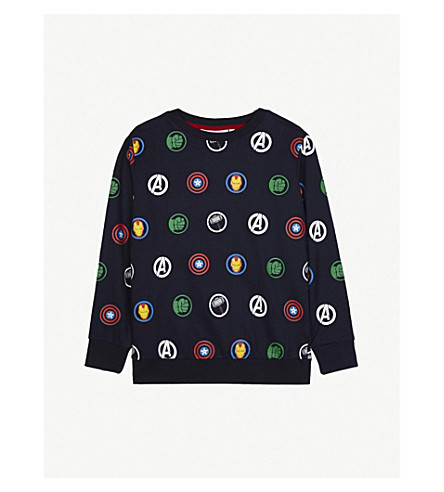 FABRIC FLAVOURS Avengers print cotton jumper 3-10 years (Navy