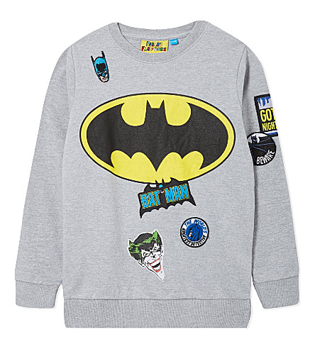 FABRIC FLAVOURS Batman badge sweatshirt 3-10 years (Light+grey+marl