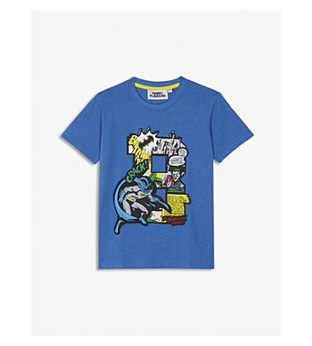 FABRIC FLAVOURSBatman贴花棉混合 t恤3-10年 (淡 + 蓝 + 石灰泥