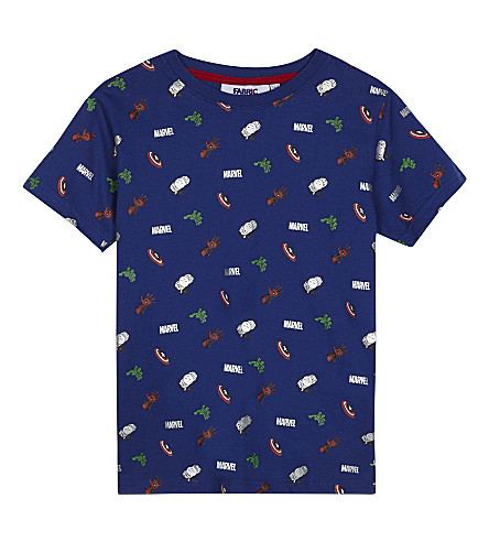 FABRIC FLAVOURS Marvel Comics print cotton T-shirt 3-10 years (Light+blue
