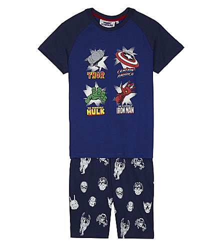 FABRIC FLAVOURS Marvel Superhero print cotton pyjamas 3-10 years (Navy