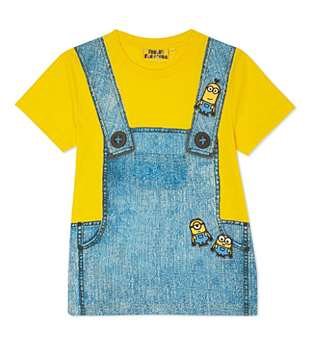 FABRIC FLAVOURS Pure cotton Minion dungaree print t-shirt 3-8 years (Yellow/blue