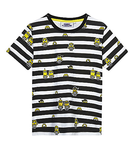 FABRIC FLAVOURS Minions jail stripe cotton T-shirt 3-8 years (Black/white