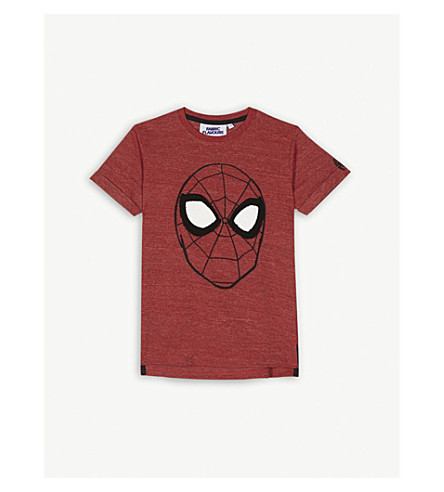 FABRIC FLAVOURS Embroidered Spiderman cotton-blend T-shirt 3-10 years (Red