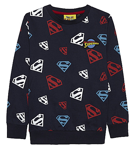 FABRIC FLAVOURS Glow in the dark superman cotton sweatshirt 3-10 years (Navy