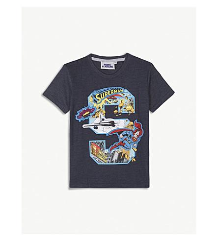 FABRIC FLAVOURS超人贴花棉混纺 t恤衫3-10年 (海军 + 石灰泥