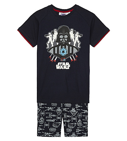 FABRIC FLAVOURS Darth Vader glow-in-the-dark cotton pyjamas 3-10 years (Navy