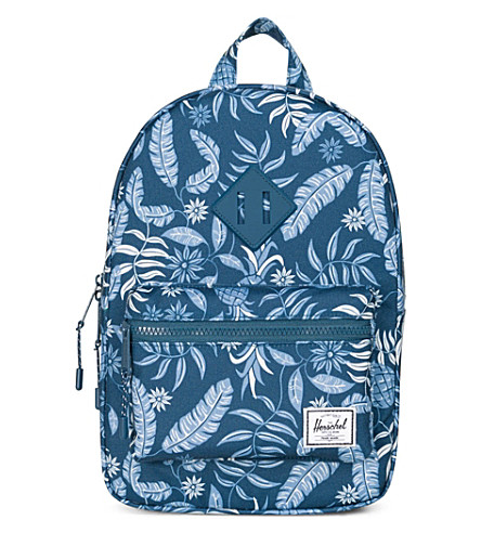 HERSCHEL SUPPLY CO Kids Heritage tropical-print backpack (Aloha+majolica+blue