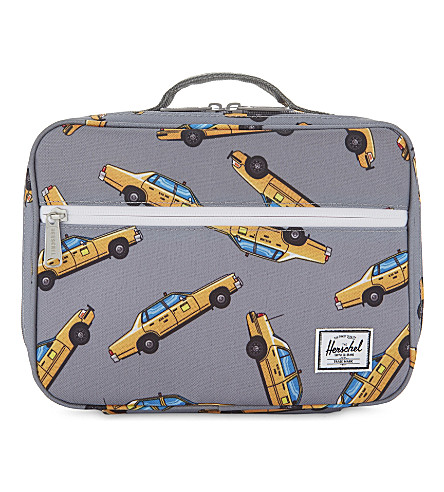 HERSCHEL SUPPLY CO Pop Quiz taxi-print canvas lunch box (Grey+taxi