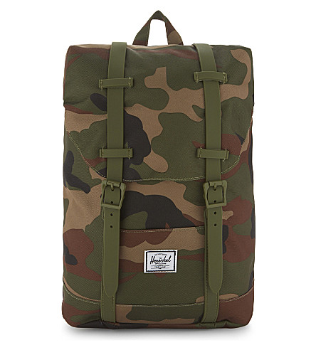 HERSCHEL SUPPLY CO Retreat camouflage canvas backpack (Woodland+camo