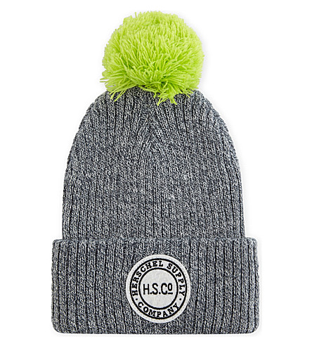 HERSCHEL SUPPLY CO Sepp knitted beanie (Heathered+grey/neon+lime