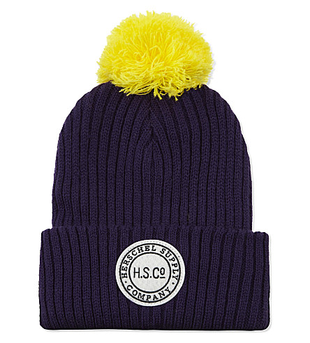 HERSCHEL SUPPLY CO Ribbed pom pom beanie hat