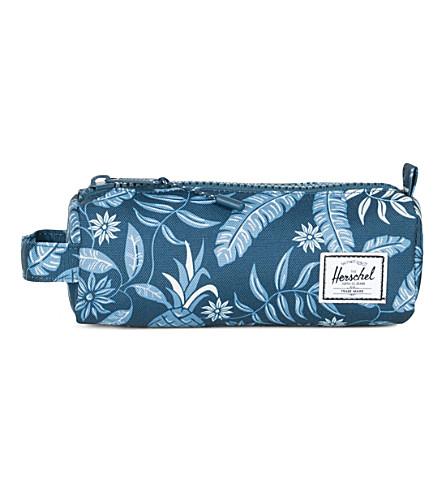 HERSCHEL SUPPLY CO Settlement tropical-print pencil case (Aloha+majolica+blue