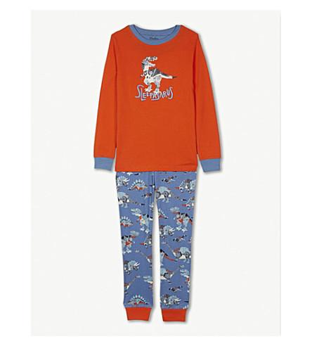 HATLEY Robot dinosaur print cotton pyjamas 4-12 years (Crater+blue