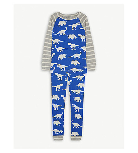 HATLEY Dinosaur print organic cotton pyjamas 4-12 years (Provence blue